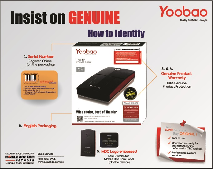 Genuine Yoobao Power Bank New Packaging