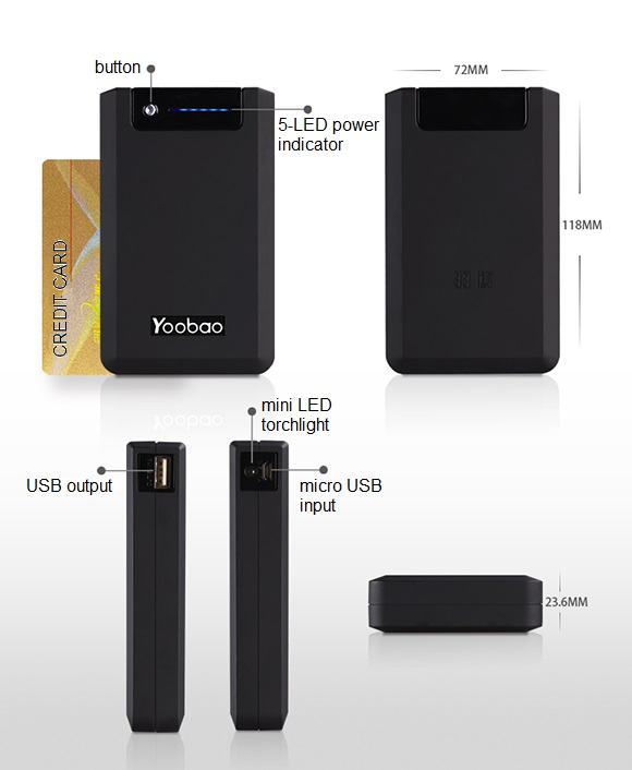 Genuine Yoobao Powerbank YB-655 Pro 13000mAh Specification