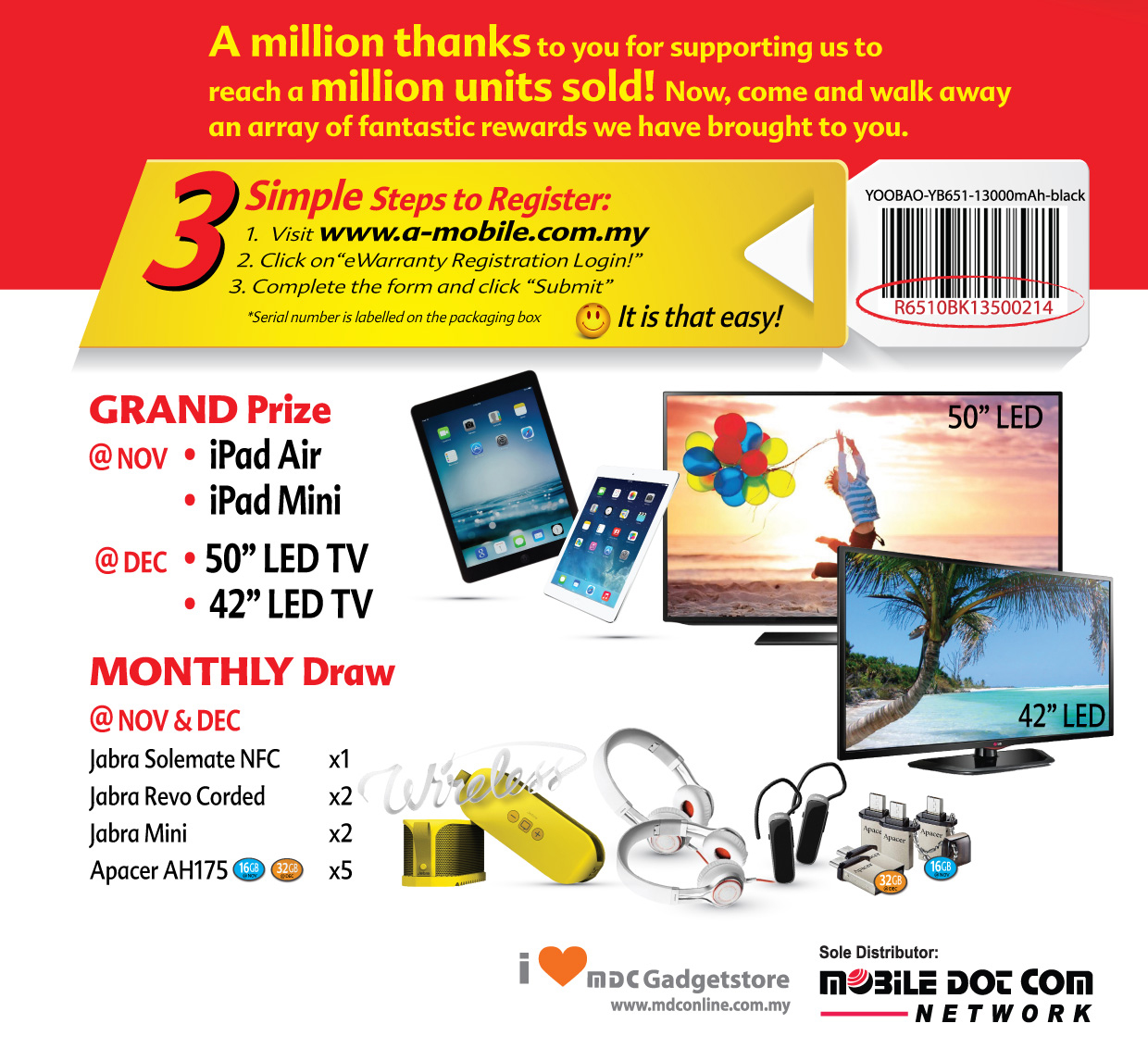 Yoobao Million Sold Million Thanks Contest